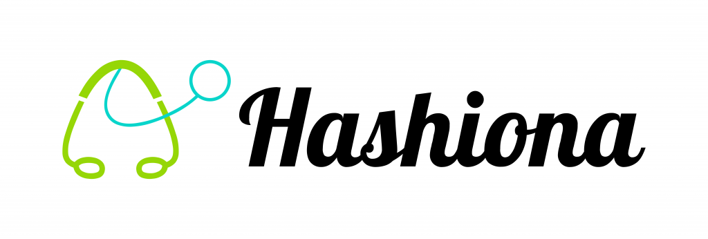 Hashiona: The logo in green, blue and black lettering